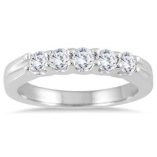 Marquee Jewels 14K White Gold 1/2ct TDW Prong Set 5 Stone Diamond Band (I-J, I2-I3)