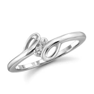 Jewelonfire 10k Gold 1/10ct TDW White Diamond 2-stone Ring (I-J, I2-I3)