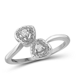 Jewelonfire 10k Gold 1/10ct TDW White Diamond 2-stone Double Heart Ring (I-J, I2-I3)