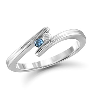 Jewelonfire 10k Gold 1/10ct TDW Blue and White Diamond 2-stone Ring (I-J, I2-I3)