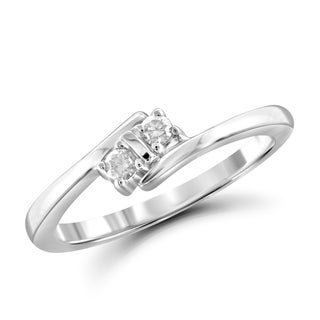 Jewelonfire 10k Gold 1/10ct TDW White Diamond 2-stone Ring (I-J, I2-I3)