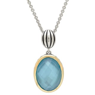 Sterling Silver and 14k Gold Teal Blue Mother of Pearl Pendant