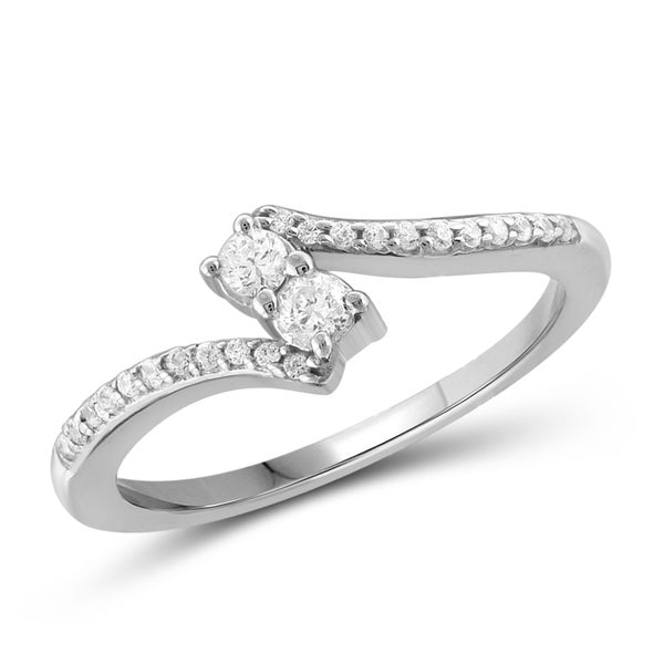 Jewelonfire 10k Gold 1/4ct TDW White Diamond 2-stone Ring
