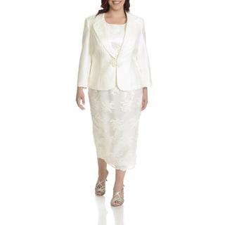 Ella Belle Women's Plus Size Lace 3-Piece Plus Skirt Suit