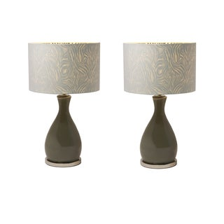 Grey Ceramic Table Lamp with Zebra Shades (Set of 2)