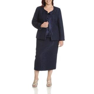 Giovanna Signature Women's Plus Size Textured 3 Piece Skirt Suit