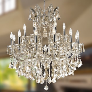 Maria Theresa 19 Light Chrome Finish and Golden Teak Royal Crystal Grand Chandelier