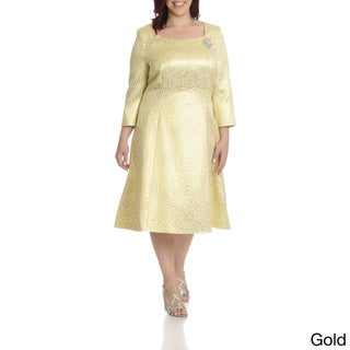 Giovanna Signature Women's Plus Size Metallic Pattern Dress