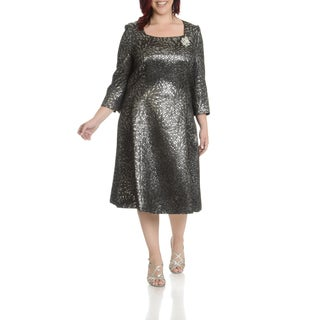 Giovanna Signature Women's Plus Size Metallic Pattern Dress (Option: Gold)
