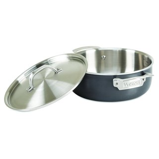 Viking Hard Stainless 5-Ply Cookware with Hard Anodized Exterior and Stainless Interior 4 Qt. Everyday Casserole Pan