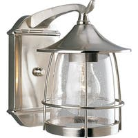 One Light Outside Wall Lantern with Nickel Finish