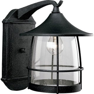 Progress Lighting P5764-71 Prairie One Light Wall Lantern with Seeded Clear Glass and Iron Black Finish