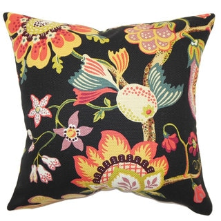 Calla Floral Down and Feather Filled Throw Pillow with Hidden Zipper Closure 18-inch Midnight