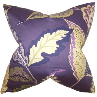 Delia Floral Down and Feather Filled Throw Pillow with Hidden Zipper Closure 18-inch Purple