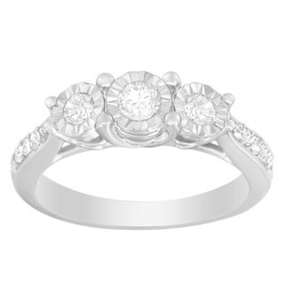 10k White Gold 1/2ct TDW Prong Set Round Cut Diamond Ring (J-K, I2-I3)