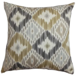 Orana Ikat Down and Feather Filled Throw Pillow with Hidden Zipper Closure 18-inch Grey Brown