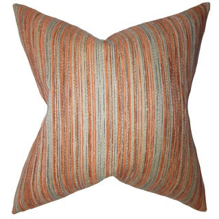 Bartram Stripes Down and Feather Filled Throw Pillow with Hidden Zipper Closure 18-inch Orange