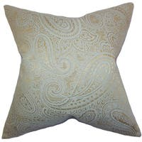 Cashel Paisley Down and Feather Filled Throw Pillow with Hidden Zipper Closure 18-inch Seaglass Gold
