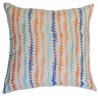 Malu Zigzag Down and Feather Filled Throw Pillow with Hidden Zipper Closure 18-inch Harvest