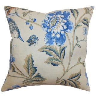 Regina Floral Down and Feather Filled Throw Pillow with Hidden Zipper Closure 18-inch Blue Green