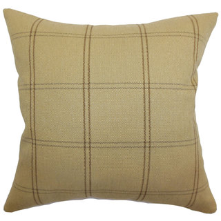 Tambia Plaid Down and Feather Filled Throw Pillow with Hidden Zipper Closure 18-inch Beige