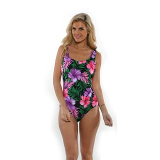 Aquabelle Pink Hibiscus One-Piece