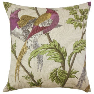 Laoise Graphic Down and Feather Filled Throw Pillow with Hidden Zipper Closure 18-inch Sesame