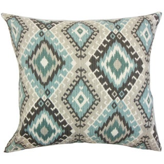 Jinja Ikat Down and Feather Filled Throw Pillow with Hidden Zipper Closure 18-inch Turquoise