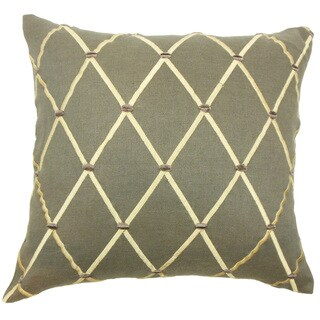 Eachna Geometric Down and Feather Filled Throw Pillow with Hidden Zipper Closure 18-inch Grey
