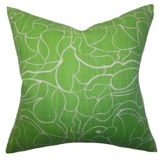 Floral Down and Feather Filled Throw Pillow with Hidden Zipper Closure 18-inch Green