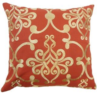 Bahira Damask Down and Feather Filled Throw Pillow with Hidden Zipper Closure 18-inch Red