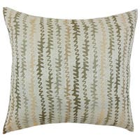 Elidi Zigzag Down and Feather Filled Throw Pillow with Hidden Zipper Closure 18-inch Green