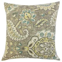 Harum Floral Down and Feather Filled Throw Pillow with Hidden Zipper Closure 18-inch Platinum