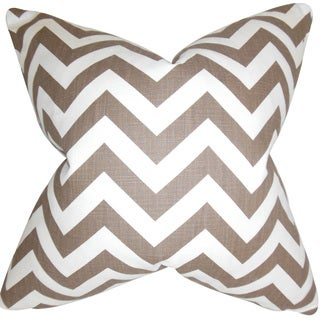 Xayabury Zigzag Down and Feather Filled Throw Pillow with Hidden Zipper Closure 18-inch Village Brown