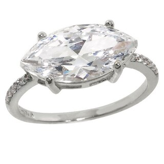 Eternally Haute Brass Marquise-cut Pave Cubic Zirconia Statement Ring (More options available)