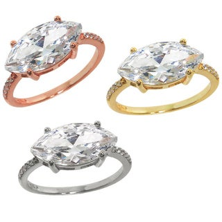 Eternally Haute Brass Marquise-cut Pave Cubic Zirconia Statement Ring