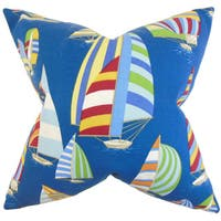Maraca Coastal Down and Feather Filled Throw Pillow with Hidden Zipper Closure 18-inch Blue