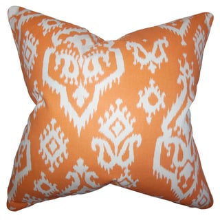 Ife Ikat Down and Feather Filled Throw Pillow with Hidden Zipper Closure 18-inch Orange