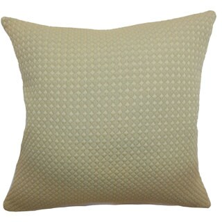 Helm Quilted Down and Feather Filled Throw Pillow with Hidden Zipper Closure 18-inch Beige