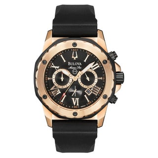 Bulova Men's Rose Goldtone Ion-plated Stainless Steel 98B104 Marine Star Chronograph Watch
