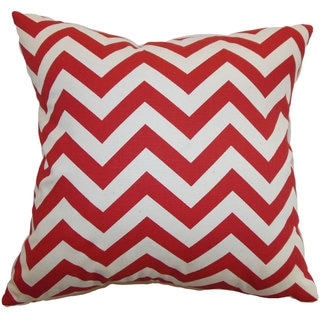 Xayabury Zigzag Down and Feather Filled Throw Pillow with Hidden Zipper Closure 18-inch Lipstick Natural