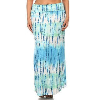 MOA Collection Women's Plus Size Tie Dye Maxi Skirt