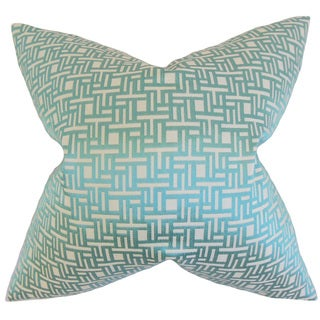 Daphnis Geometric Down and Feather Filled Throw Pillow with Hidden Zipper Closure 18-inch Aquamarine