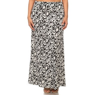 MOA Collection Women's Plus Size Abstract Floral Maxi Skirt