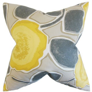 Carlin Geometric Down and Feather Filled Throw Pillow with Hidden Zipper Closure 18-inch Yellow Gray