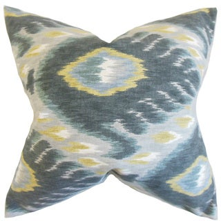 Barnum Ikat Down and Feather Filled Throw Pillow with Hidden Zipper Closure 18-inch Mineral