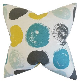 Xenophon Geometric Down and Feather Filled Throw Pillow with Hidden Zipper Closure 18-inch Blue Dot