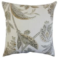 Taja Floral Down and Feather Filled Throw Pillow with Hidden Zipper Closure 18-inch Ash