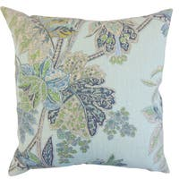 Taja Floral Down and Feather Filled Throw Pillow with Hidden Zipper Closure 18-inch Sapphire