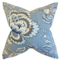 Oberon Floral Down and Feather Filled Throw Pillow with Hidden Zipper Closure 18-inch Indigo